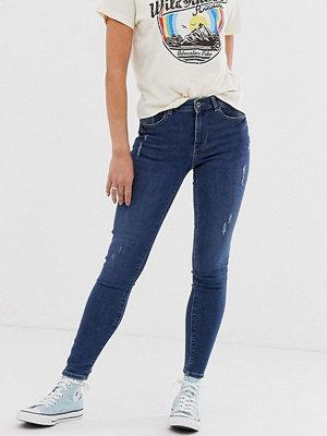 Pieces Bree Ankle grazer-jeans med extra smal passform Mellanblå denim