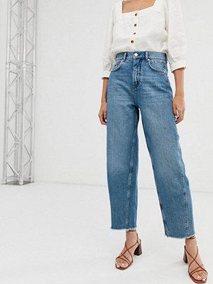Whistles Fransiga jeans med barrel-ben och hög midja Mellanljus tvätt