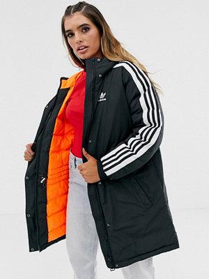 Adidas Originals Svart parkas med tre ränder