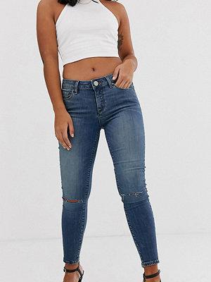 ASOS Petite Lisbon Mörka stentvättade skinny jeans med medelhög midja och revor på knäna
