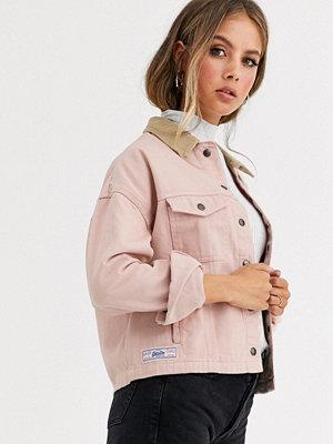 Superdry Jeansjacka med kontrasterande krage Scandi pink
