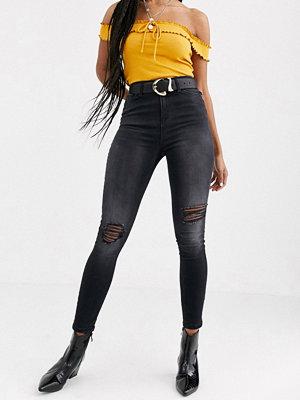 Miss Selfridge Lizzie Svarta skinny jeans med slitna detaljer
