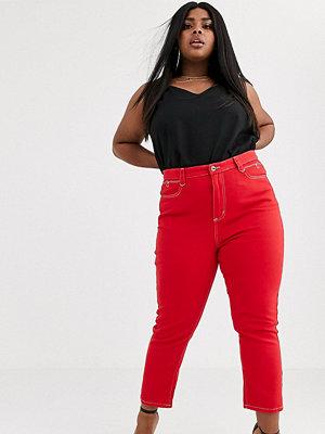 Liquor N Poker Plus Mom jeans i cowboymodell Urblekt röd