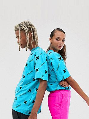 Collusion Blå t-shirt i unisexmodell med logga Kobaltblå