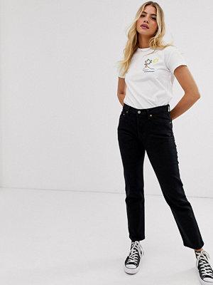 Levi's 501 Svarta ankellånga jeans Svart med hjärtmönster