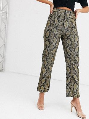 ASOS DESIGN Florence Gula ormskinnsmönstrade jeans med raka ben