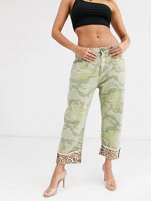 One Teaspoon Bandits Kamouflagemönstrade jeans med raka ben och leoparddetalj Camo camo
