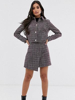 Fashion Union Petite A-linjeformad minikjol i tweed med omlott