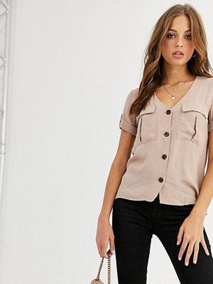 Skjortor - Warehouse Kamelfärgad cargoskjorta med ficka Neutral