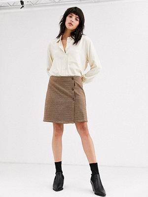 Only Rutig minikjol med knappar Flerfärgad