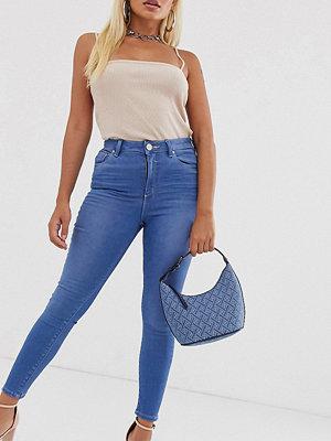 ASOS Petite Ridley Blå skinny jeans med hög midja och råskuren fåll