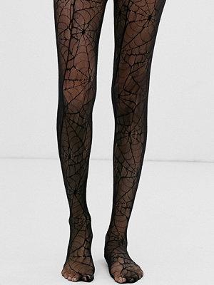 ASOS DESIGN Halloween Svarta tights med spindelnät