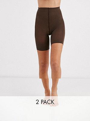 ASOS DESIGN 2-pack umbrafärgade shorts med anti-skav Umbra
