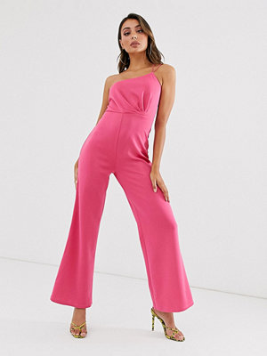 Jumpsuits & playsuits - Laced In Love Rosa jumpsuit i scubamaterial med vida ben Fuchsia