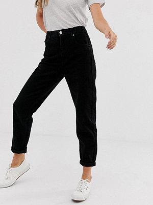 Pull&Bear Svarta mom jeans med elastisk midjeresår
