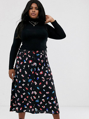 Wednesday's Girl Curve Midaxikjol med blommönster Black bright floral