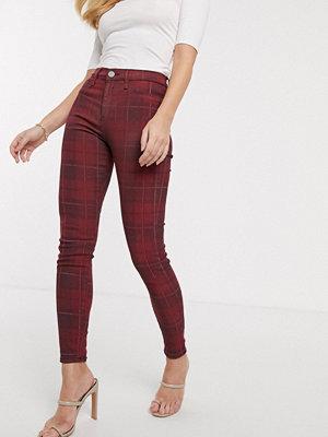 River Island Molly Rödrutiga skinny jeans Rött mönster