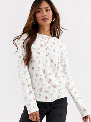 Toppar - Daisy Street Blommig långärmad topp med våfflad struktur White ditsy floral