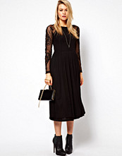 ASOS Midi Dress With Embroidered Sleeves