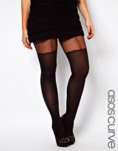 ASOS CURVE Heart And Bow Suspender Sheer Tights