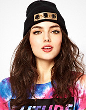 ASOS Beanie With Metal Gem & Spike Plate