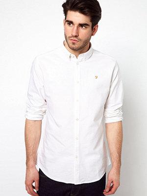 Farah Brewer Vit oxfordskjorta med smal passform
