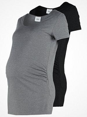 Mamalicious MLLEA NELL 2 PACK Tshirt bas black/med grey melange