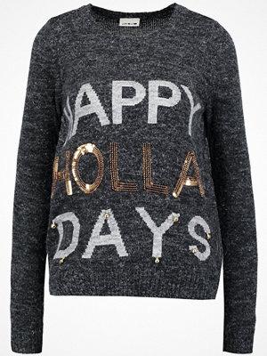 Noisy May NMBELLY Stickad tröja dark grey melange/light grey melange