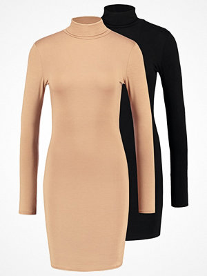 Missguided 2 PACK Jerseyklänning black/camel