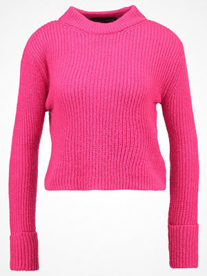Topshop Petite LOFTY TURNBACK   Stickad tröja brightpink
