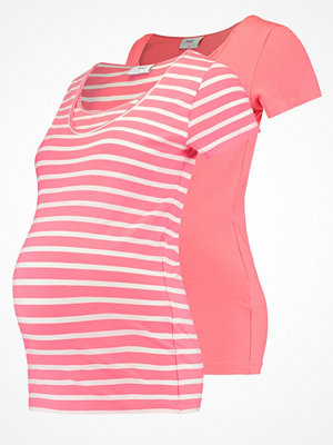 Mamalicious MLLEA 2 PACK Tshirt med tryck sunkist coral