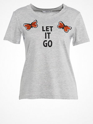 Only ONLLETS FLY Tshirt med tryck light grey melange
