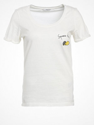 Only ONLTES Tshirt med tryck cloud dancer/lemon