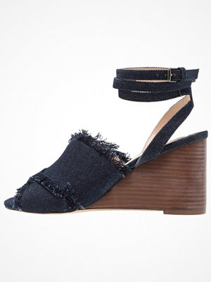 Topshop WHIRL X OVER WEDGE Sandaletter med kilklack middenim
