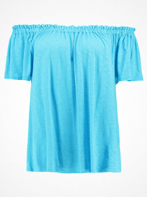 New Look Curves SHIRRING BARDOT Tshirt med tryck turquoise