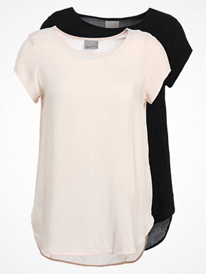 T-shirts - Vero Moda VMBOCA 2PACK Blus cream tan/black
