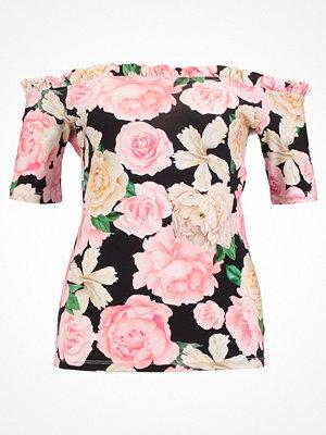 Dorothy Perkins ROSE RUFFLE EDGE BARDOT Tshirt med tryck black