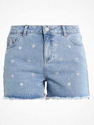 Dorothy Perkins DAISY EMBROIDED Jeansshorts mid wash