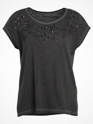Only ONLFLOWER PAKO  Tshirt med tryck dark grey melange