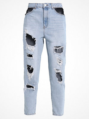 Topshop FISHNET MOM  Jeans relaxed fit bleach