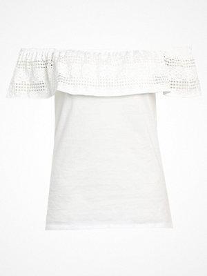Dorothy Perkins RUFFLE BARDOT Tshirt med tryck white