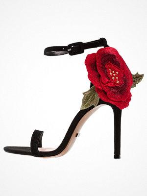 Topshop ROSEBUD ROSE DETAIL Sandaletter black