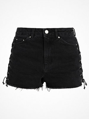 Topshop LATTICE SIDE  Jeansshorts washedblack