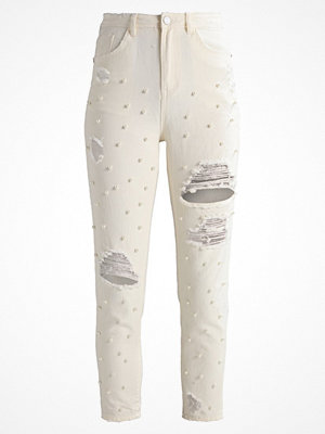 Missguided RIOT HIGHWAISTED RIPPED  Jeans slim fit ecru