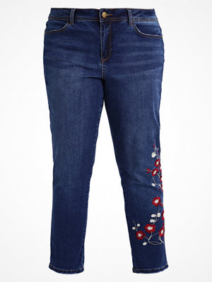 Evans EMBROIDERED BOYFRIEND Jeans Tapered Fit blue