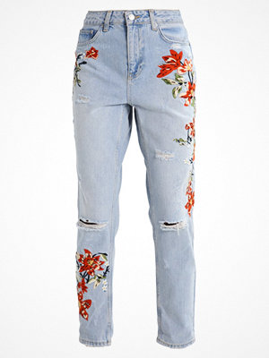 Topshop FIRE FLOWER MOM Jeans relaxed fit bleach