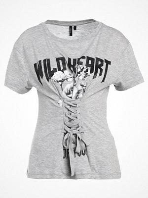 Vero Moda VMCORSAGE Tshirt med tryck light grey melange