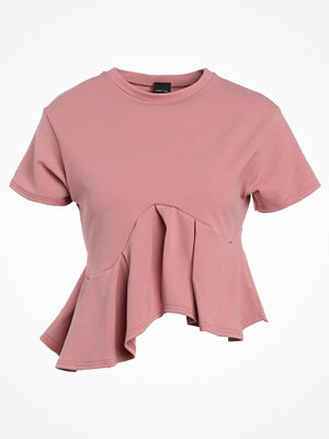 Lost Ink FLARED FRILL Tshirt med tryck light pink