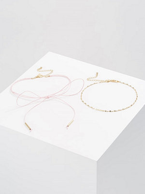 Topshop CUTE BOW CHAIN 2PACK Halsband pastel pink
