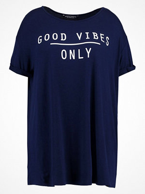 Dorothy Perkins Curve GOOD VIBES Tshirt med tryck navy blue